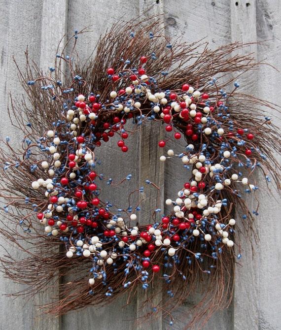 Americana Wreath, Patriotic Berry Wreath, 4th of July, American Flag Decor