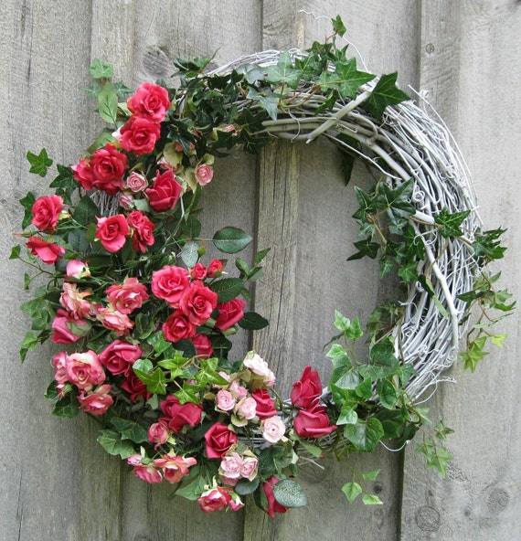 Floral Wreath, Cottage Chic, Nantucket Roses, Wedding, Summer  Wreath