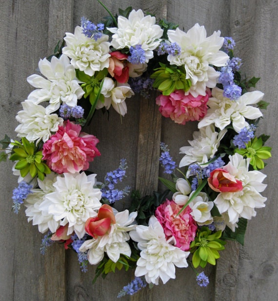 Spring Wreath, Summer Wreath, Designer Floral, Mother's Day Gift, Elegant Wreath, Garden Wedding, Country French