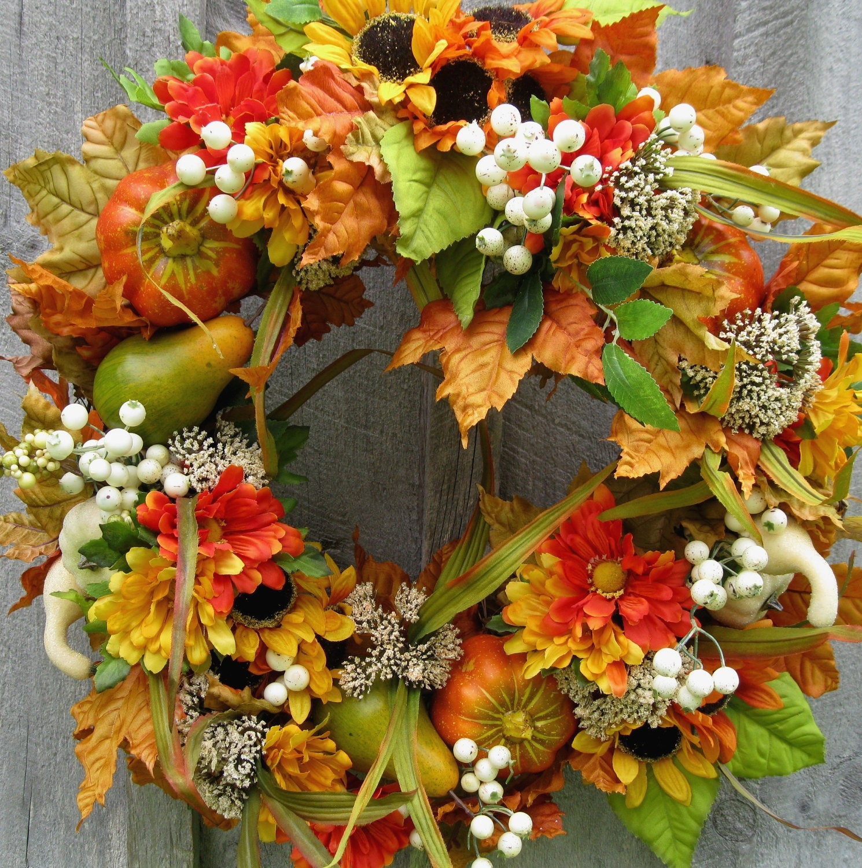 Fall Wreaths Autumn Floral Wreath Harvest Thanksgiving