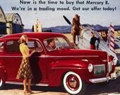 Vintage Car Postcard 1940s Mercury Automobile