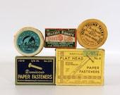 Vintage Office Supplies, Brass Paper Fasteners