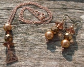 Copper Peace Necklace and Earrng Set-Jewelry Gift Set-Christmas Gift idea