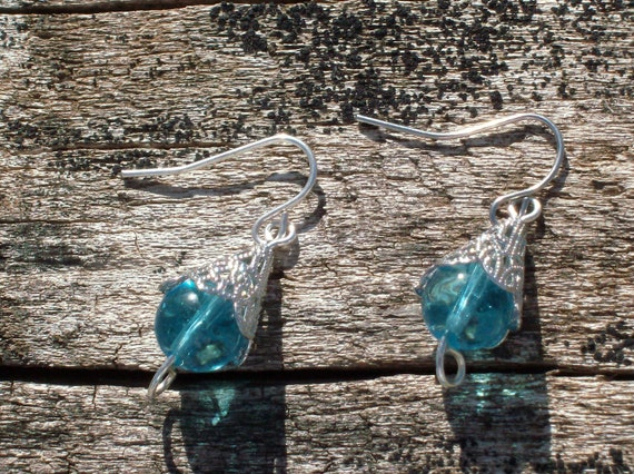 Azure Teardrops fall Dangle earings