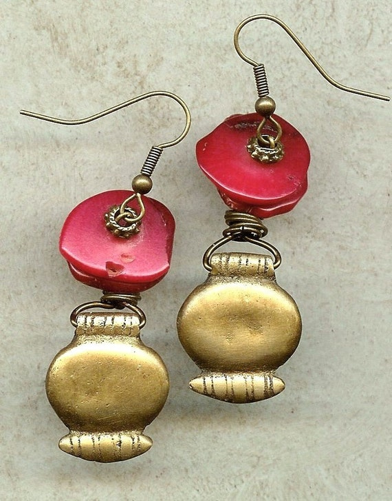 CORAL EARRINGS, Slice Beads, With Antique Gold Drop Charm