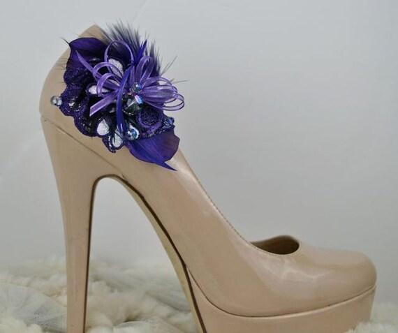 Purple  bouquet Shoe clips