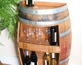 Wine Cabinet Hold 30 Wine Bottles, Wall Cabinet, Solid Oak Made From Recycled Wine Barrel