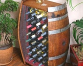 32 Bottle Wine Barrel Cabinet With Metal Wine Rack
