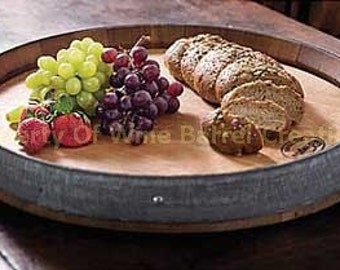 Wine Barrel Head Lazy Susan With Band Solid oak from a Napa Valley Winery