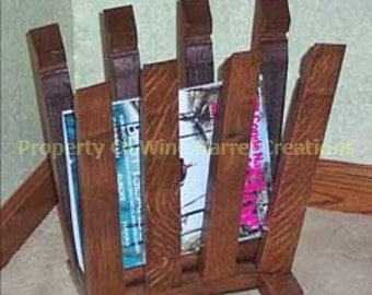 Barrel Stave Magazine Rack, newspaper rack from recycled wine barrels