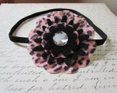 Fun Leopard Print Felt Flower Headband..... Girls Headband......Pink and Black Headband