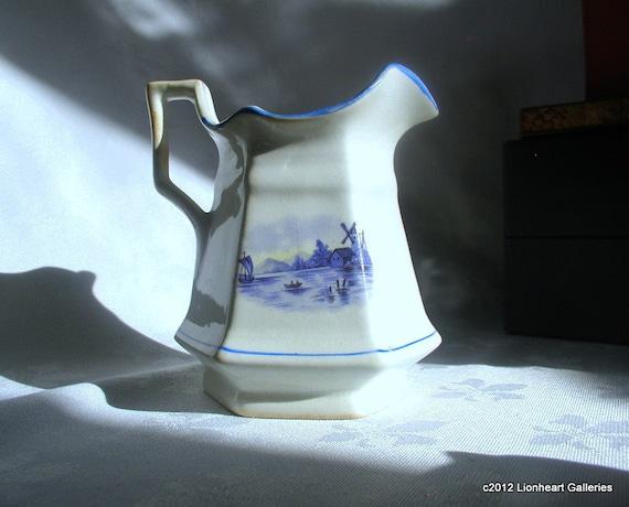 Vintage Blue and White Delft Windmill Scene Ceramic Creamer TREASURY
