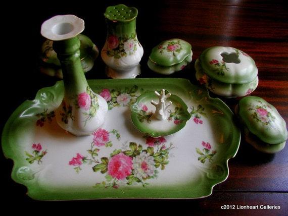 Vintage Victorian German Porcelain 8 pc Complete  Ladies Dresser  Set Make Offer