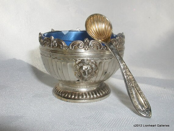 Vintage Silverplate Open Salt Cellar Set w Lion Heads Downton Abbey Style