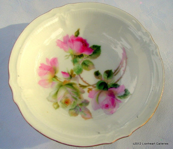 Vintage Berry Bowls Dessert Dishes Handpainted Pink Roses Germany