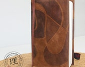 Leather Journal Cover - Brown Cognac Swirl with Moleskine