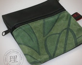Leather Bag - Green Leaf Gadget Pouch