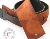 Leather Suede Guitar Strap - Brown Cognac Swirl