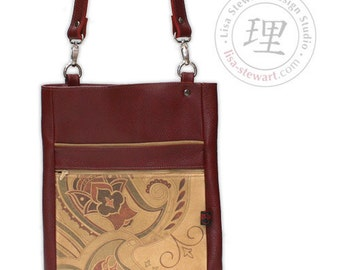 Leather iPad Tote - Crossover Deep Red and Wine Paisley on Suede