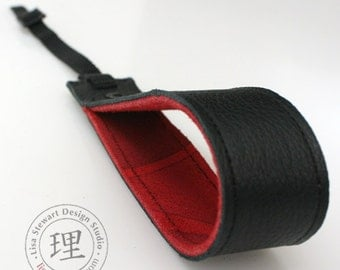 Leather Suede Camera Wrist Strap - OOAK Black Leather Red Swirl Design