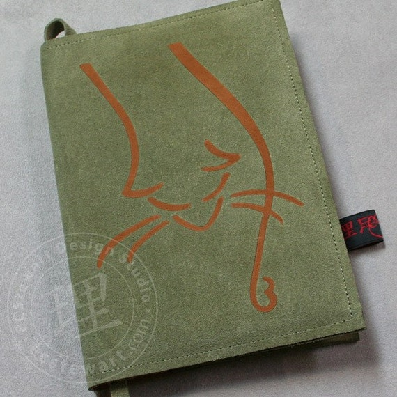 Handmade Bacchus Cat Green Italian Leather Suede Cover with Moleskine Journal