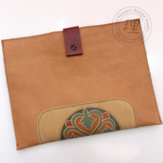 Leather iPad Cover - Butterscotch Tan Archaic Marrakech Cats Suede