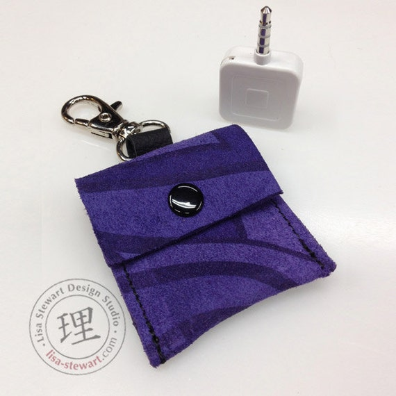 Square Credit Card Reader  - Purple Peacock Suede Pouch