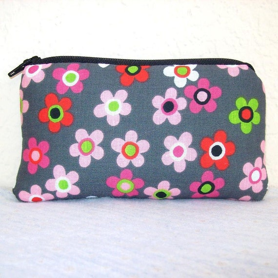 """Retro Flowers on Grey Cotton Padded Pipe Pouch 5.5"""""""