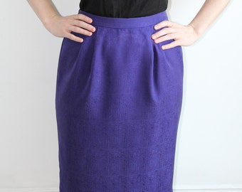 Purple Silk Pencil Skirt - M/L