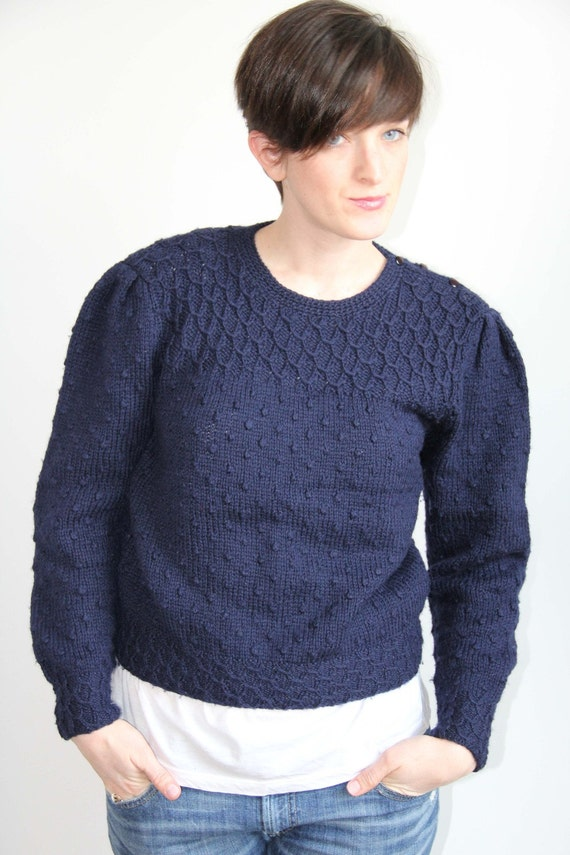 SALE - Navy Wool Sweater by Deans of Scotland