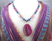colorful hot pink, purple and turquoise gemstone necklace