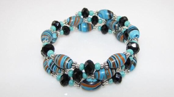 CLEARANCE fun and funky 3 strand gemstone bracelet