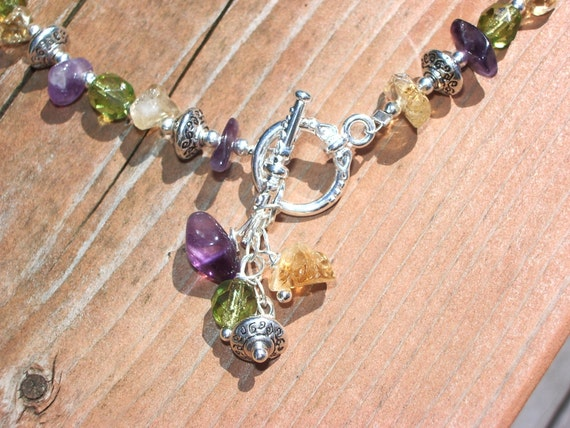 amethyst, peridot and citrine anklet