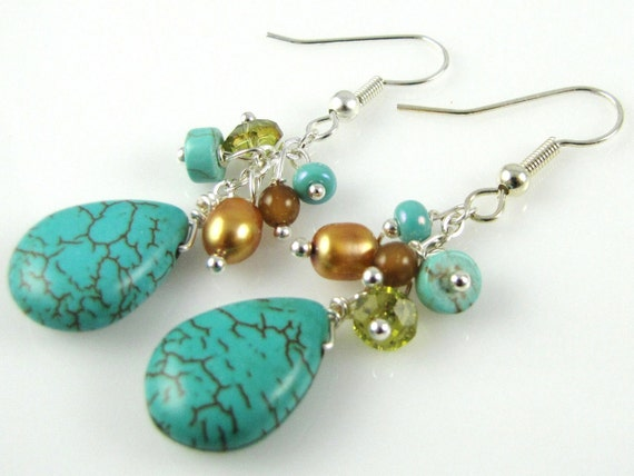 turquoise drop and  gemstone cluster earrings