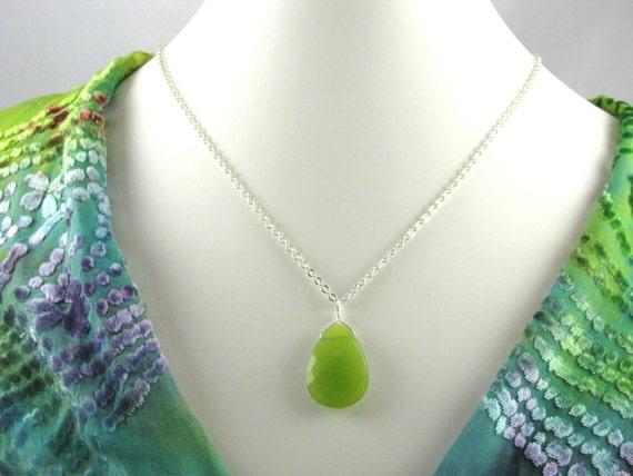 olive green jade faceted teardrop gemstone necklace