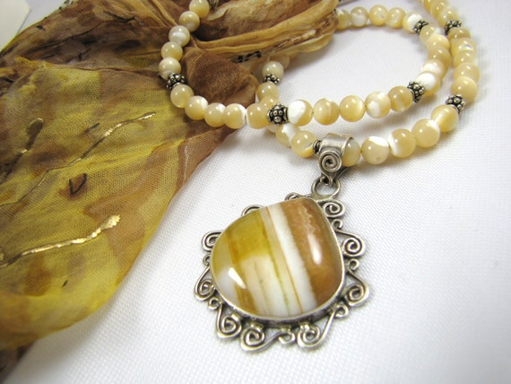 butterscotch agate, mother of pearl  and sterling silver gemstone statement necklace