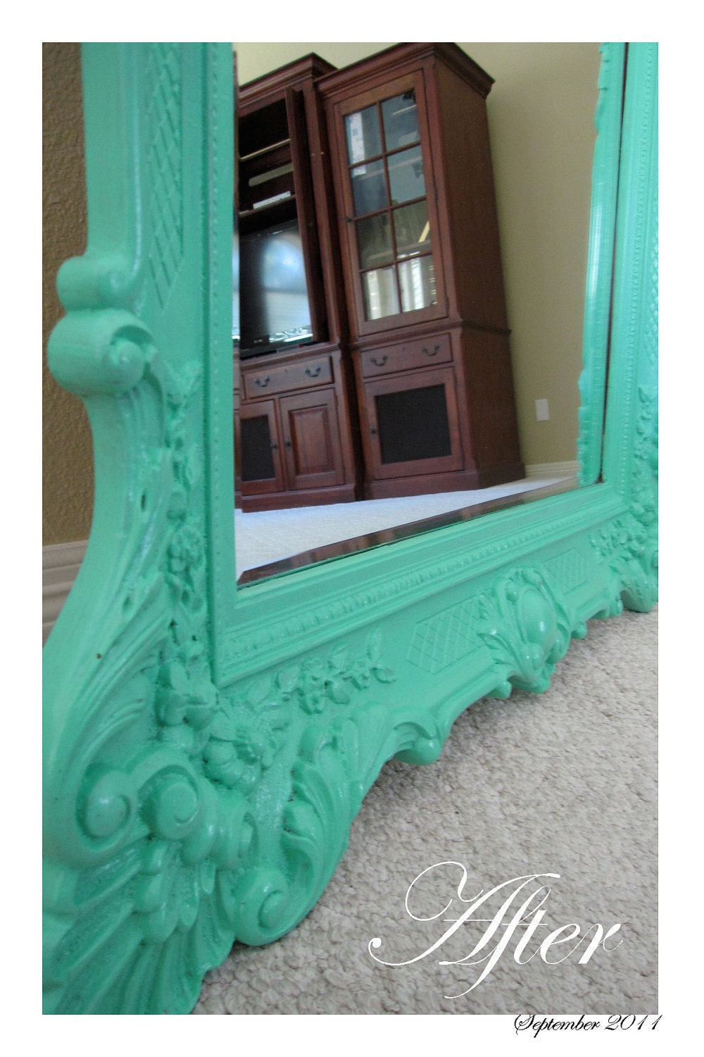 shabby chic large light teal mirror