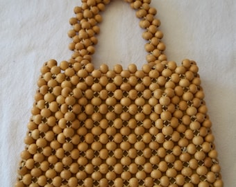 Yellow Wood Bead Handbag by Dayne Taylor