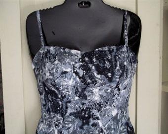 Black, White, and Gray Cotton Print Sundress