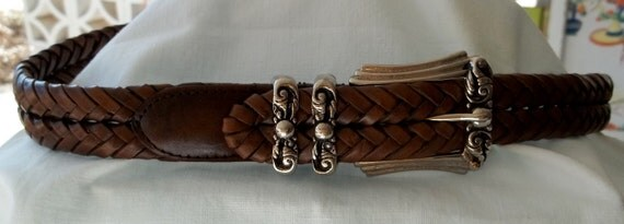 Vintage Double Braided Brown Leather Belt Made in India