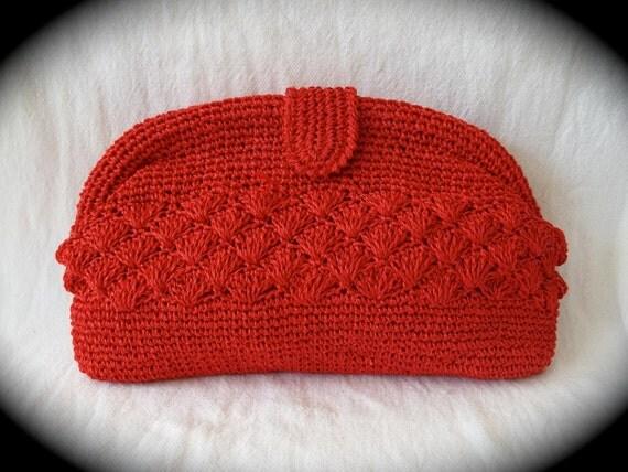 Vintage Red Crochet Clutch