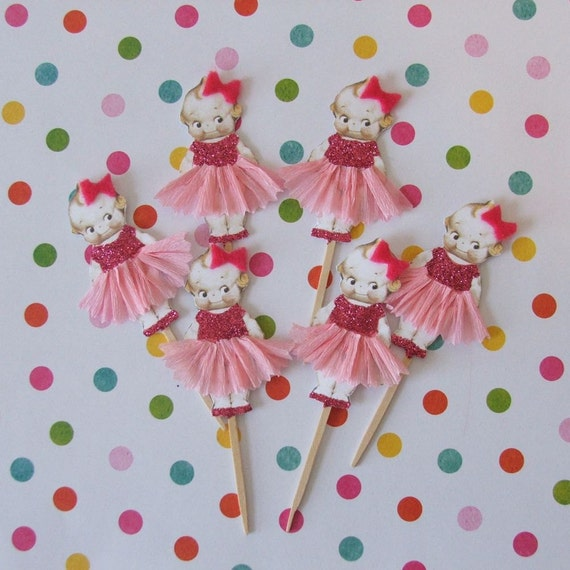 Sweet, Adorable Little Girl Cupcake Toppers