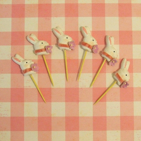 Victorian  Bunny Cupcake Toppers/Picks, Cake Decoration