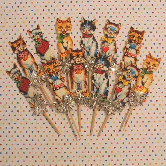 Kitty Kats/Retro Cats/Silly Cats/Cat Lover Cupcake Toppers