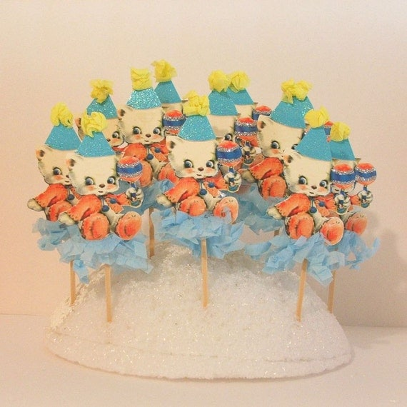 Blue Kittens/Baby Shower Toppers/Child Party Toppers/Cupcakes