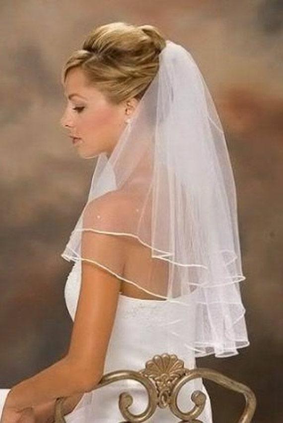 2 Tier shoulder / Waist length Veil with satin trim White