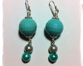 """OOAK 2"""" Long Dangle Earrings / Repurposed Faceted Plastic Turquoise Vintage Bead / Two Faux Pearls Blue &Gray /Sterling Silver French Hooks"""