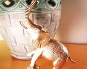 SALE Vintage Brass Elephant Sculpture Handcrafted Heavily Ornate Antique Design Paisley Oriental Rug Hand Engraved Brass Scuplture