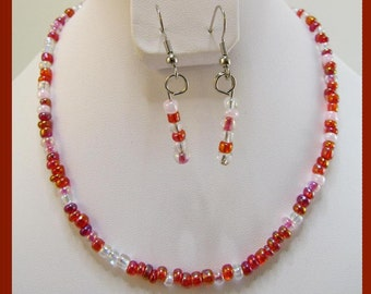 Children red pink necklace and earrings