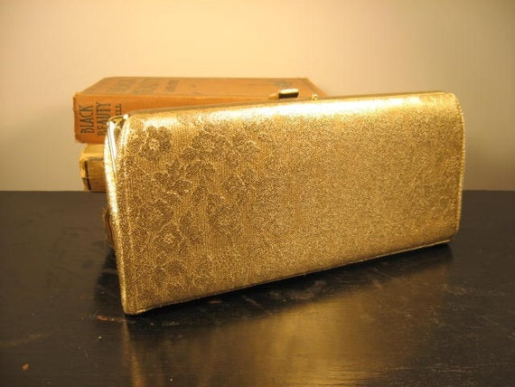 RESERVED for KATE - vintage 1960s purse / 60s glamourous gold brocade clutch purse